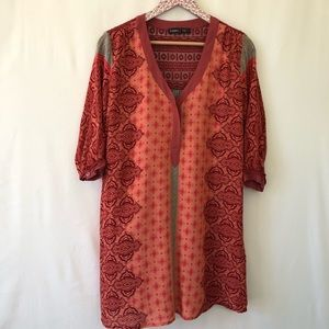 Gypsy 05 orange and teal shirt dress size small